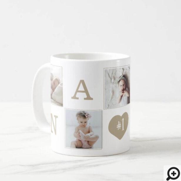 Number 1 Nana Grandma Photo Collage Gold Frame Coffee Mug
