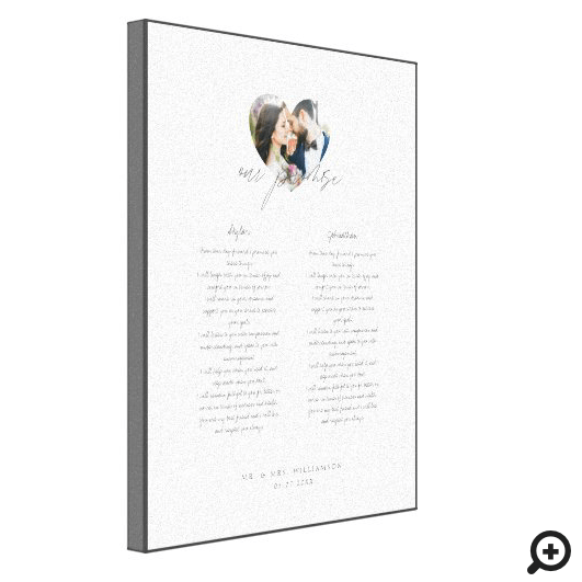 Our Promise Newlyweds Wedding Vows Heart Photo Canvas Print