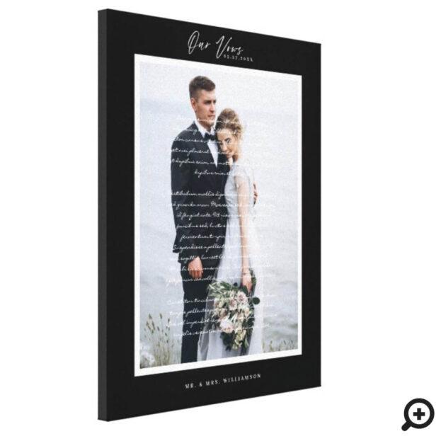 Our Wedding Vows Script & Minimal Black Frame Canvas Print