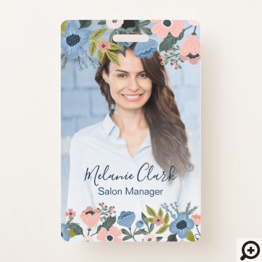 Pretty Blossom Pink & Blue Floral Frame Photo ID Badge