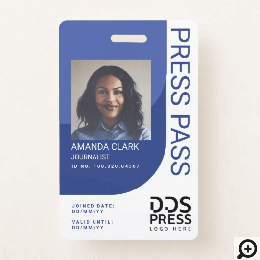 Royal Blue Modern & Minimal Press Pass Photo ID Badge