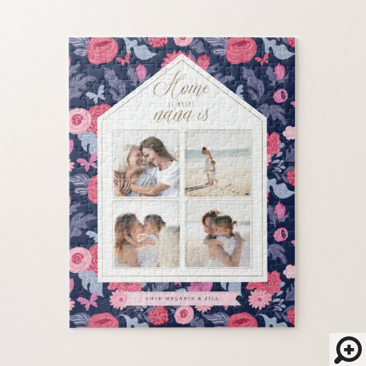 Home is Where Nana Is - Photo Collage Pink Floral Jigsaw Puzzle