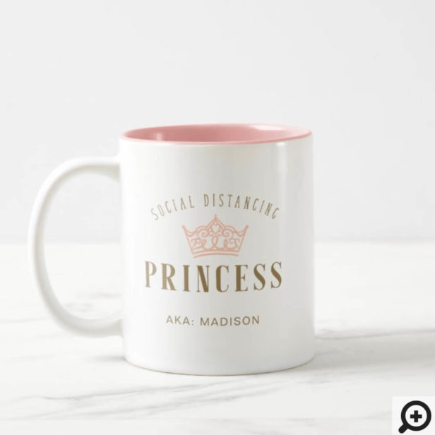 Stylish Royal Crown Social Distancing Princess Two-Tone Coffee Mug
