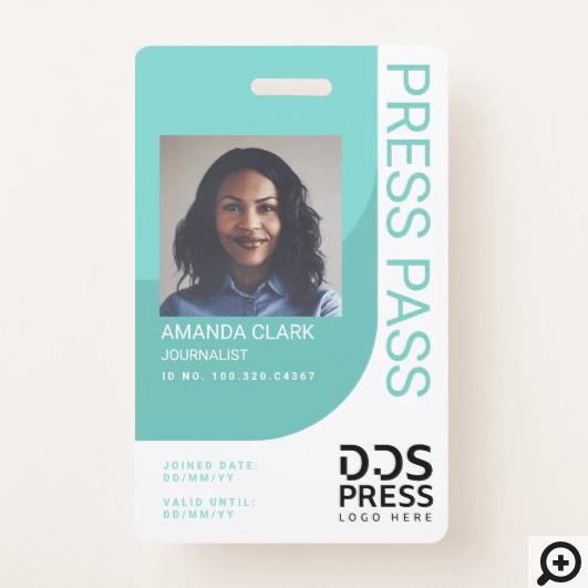 Teal Blue Modern & Minimal Press Pass Photo ID Badge