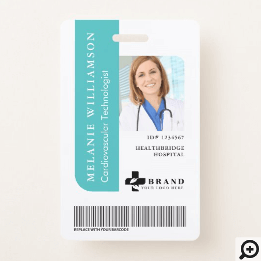Teal Personalized Medical Employee Photo ID & Logo Badge