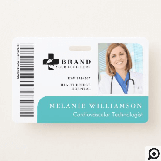Teal Personalized Medical Employee Photo ID & Logo Horizontal Badge