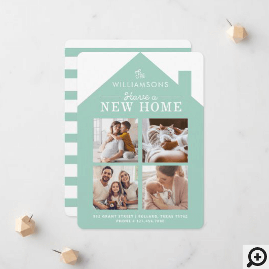 Turquoise Home New Family Address Photo Collage Announcement