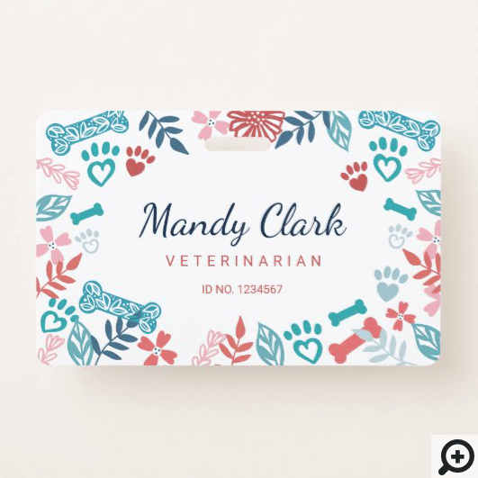 White Blue Floral & Foliage Pet Paw Print Pattern Badge