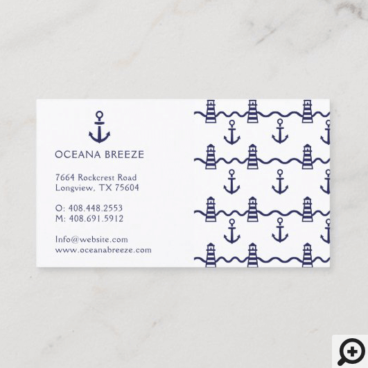 White & Navy Nautical Anchor Lighthouse Pattern Business Card