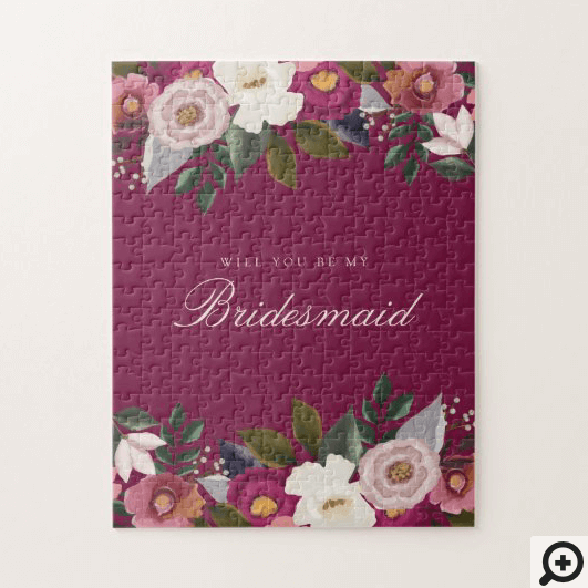 Will You Be My Bridesmaid? Moody Floral Watercolor Jigsaw Puzzle