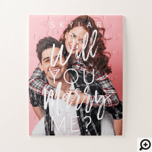 Will You Marry Me Trendy Script & Custom Photo Jigsaw Puzzle