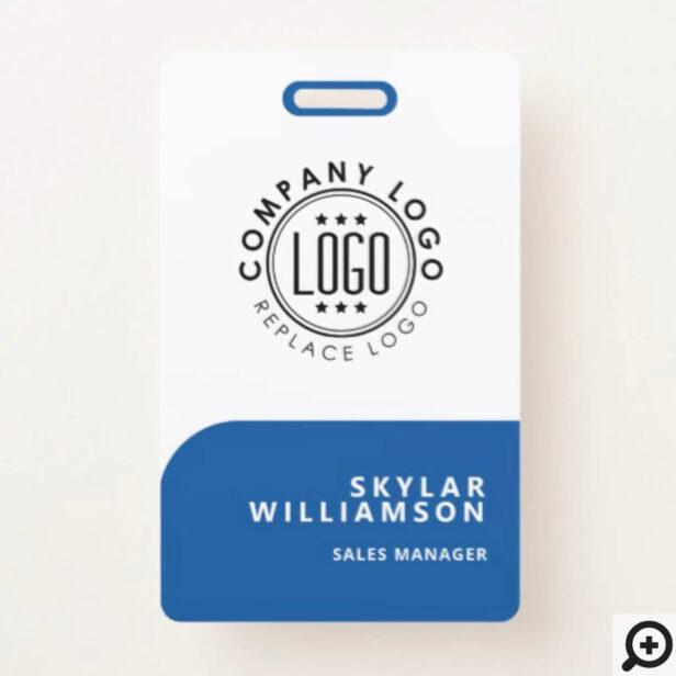 Your Logo Here Minimal Blue & White Identity Badge