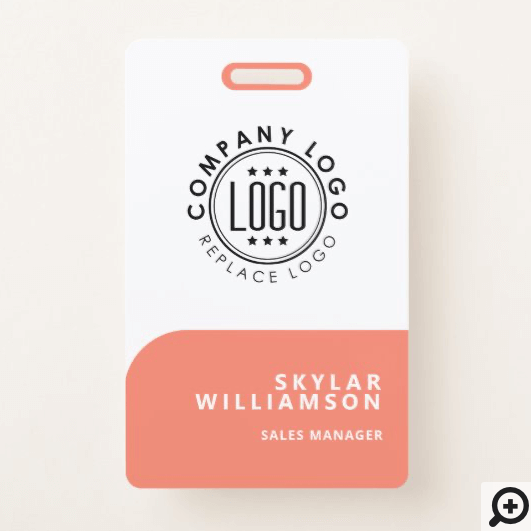Your Logo Here Minimal Coral & White Identity Badge