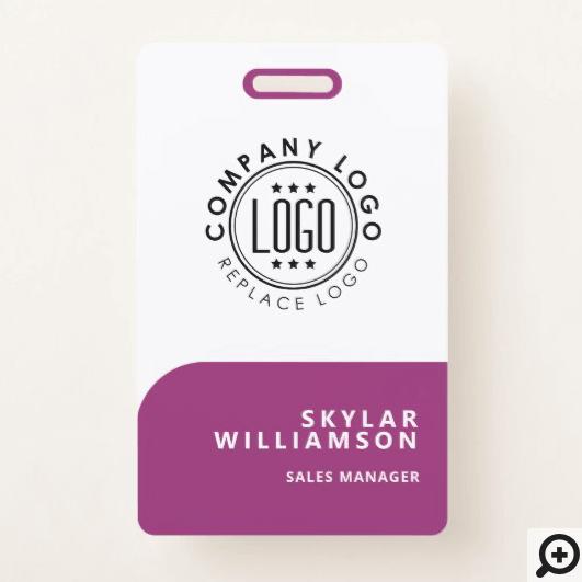 Your Logo Here Minimal Purple & White Identity Badge
