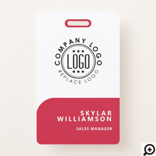 Your Logo Here Minimal Red & White Identity Badge