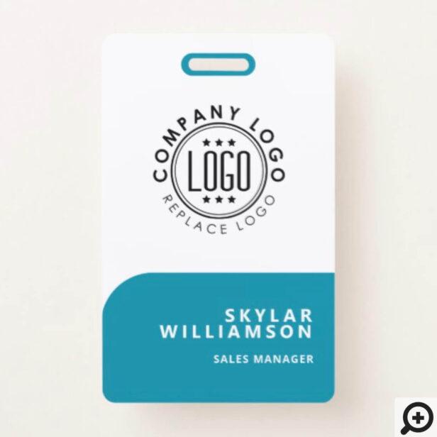 Your Logo Here Minimal Teal & White Identity Badge