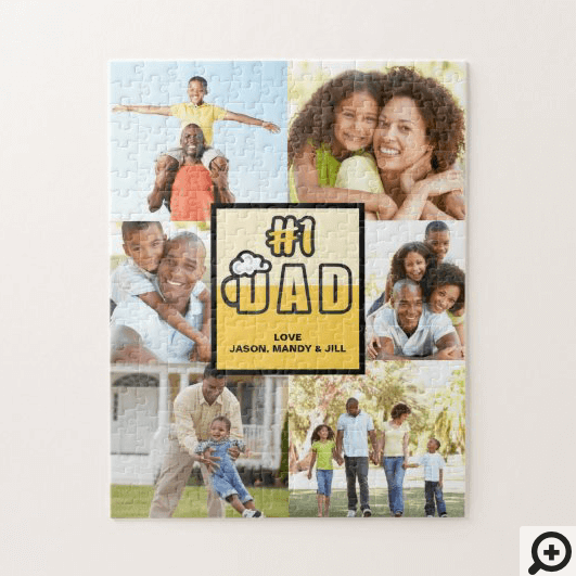 #1 Dad, Happy Fathers Day, Beer Theme Photo Jigsaw Puzzle