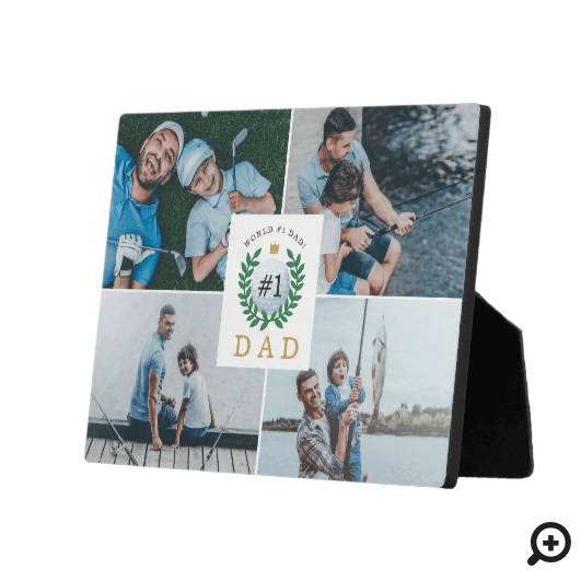 #1 Dad, Happy Fathers Day Golf Theme Photo Collage Plaque