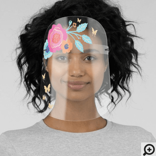 Abstract Floral Hair Accessory & Butterflies Face Shield