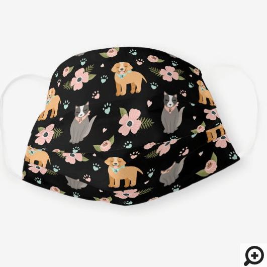 Adorable Cat & Dog Floral Paw Print Pattern Black Cloth Face Mask