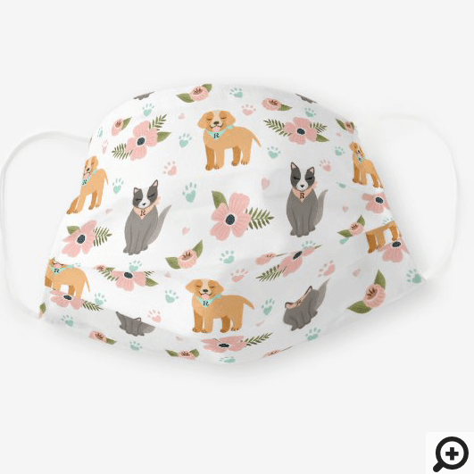 Adorable Cat & Dog Floral Paw Print Pattern White Cloth Face Mask