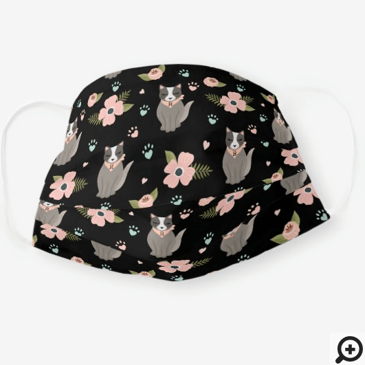 Adorable Kitty Cat Floral Paw Print Pattern Black Cloth Face Mask