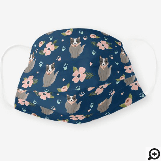Adorable Kitty Cat Floral Paw Print Pattern Navy Cloth Face Mask