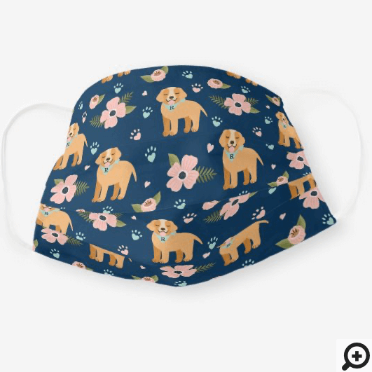 Adorable Puppy Dog Floral Paw Print Pattern Navy Cloth Face Mask