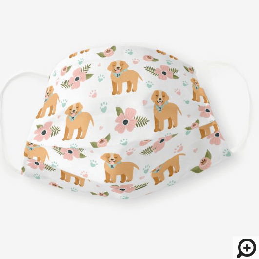Adorable Puppy Dog Floral Paw Print Pattern White Cloth Face Mask