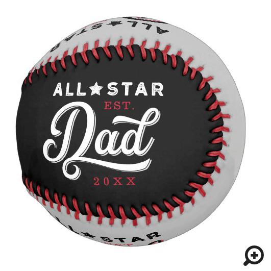 All-Star Dad, Black & Grey Bat & Monogram Baseball