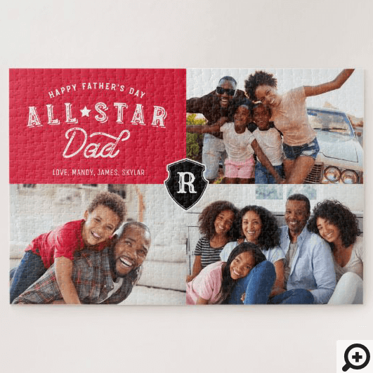 All Star Dad | Happy Father's Day Photo & Monogram Jigsaw Puzzle