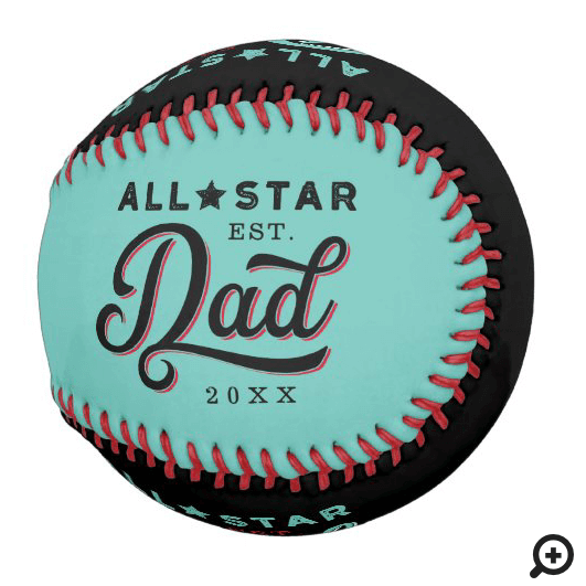 All-Star Dad, Teal & Black Bat & Monogram Baseball