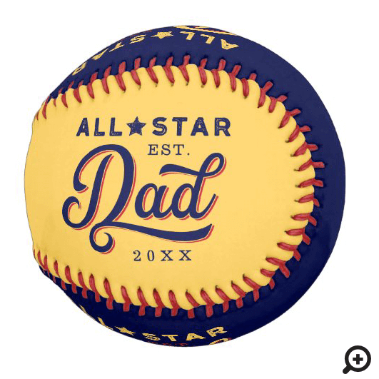 All-Star Dad, Yellow & Navy Bat & Monogram Baseball