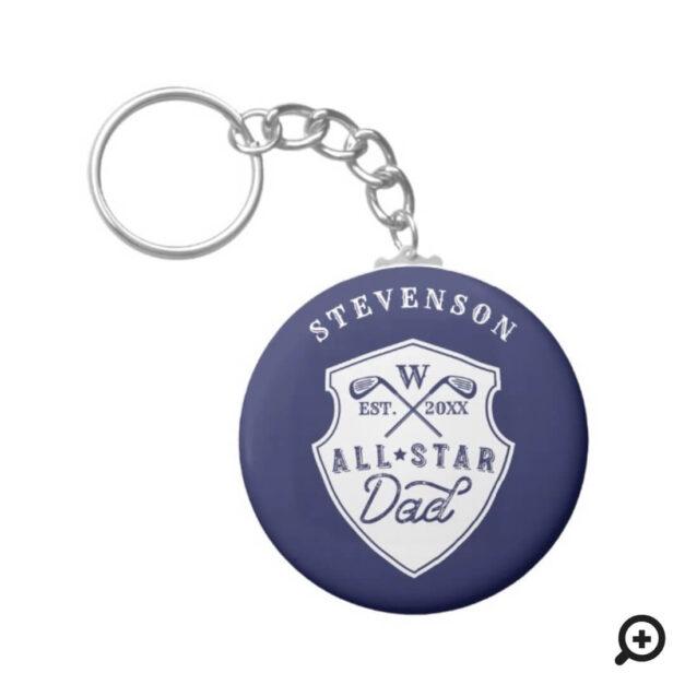 All Star Golfing Dad Monogram Golf Club Crest Keychain