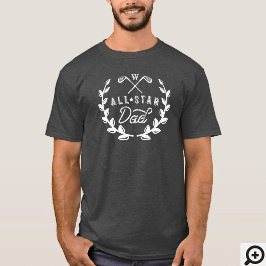 All Star Golfing Dad Monogram Golf Club Crest T-Shirt