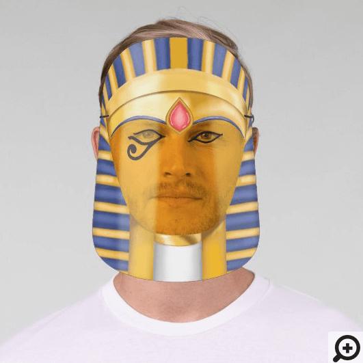 Ancient Egyptian Pharaoh Gold & Blue Headdress Face Shield