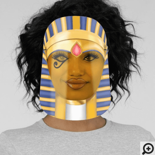 Ancient Egyptian Woman Female Pharaoh Gold & Blue Face Shield