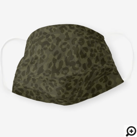 Army Green Camouflage Leopard Print Pattern Cloth Face Mask