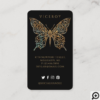 Beautiful Ornate Decorative Butterfly Logo Black Business Card