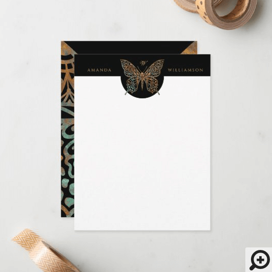 Beautiful Ornate Decorative Butterfly Logo Black Note Card