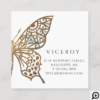 Beautiful Ornate Decorative Butterfly Logo Black Square Business Card