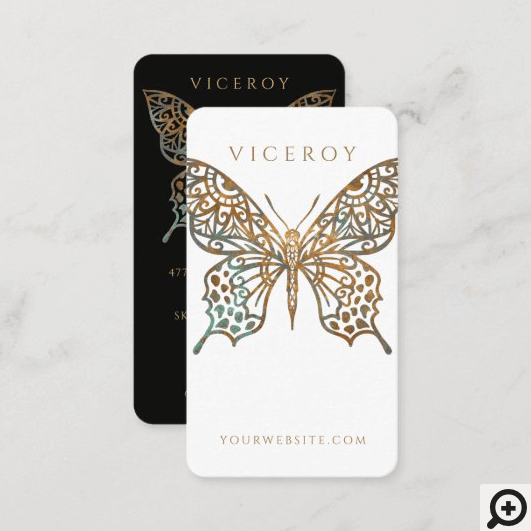 Beautiful Ornate Decorative Butterfly Logo White Business Card
