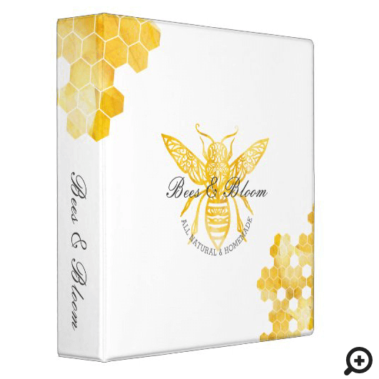Yellow Bees & Bloom Floral Elegant & Decorative Honey Bee 3 Ring Binder