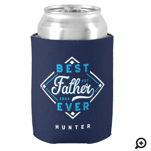Best Father Ever Baseball Diamond Name & Monogram Can Cooler