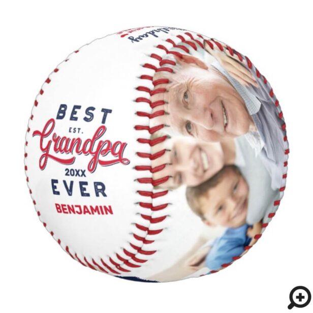 Best Grandpa Ever | Birthday Photos & Monogram Baseball