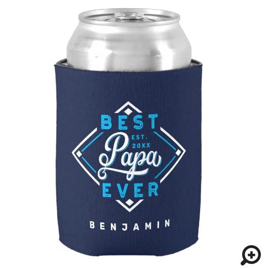 Best Papa Ever Baseball Diamond Name & Monogram Can Cooler