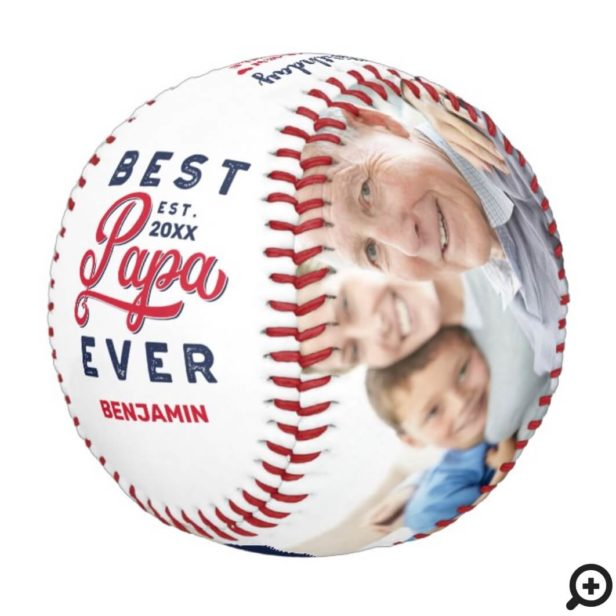 Best Papa Ever | Happy Birthday Photos & Monogram Baseball