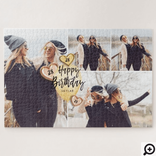 Birthday Celebration Gold Balloon Photo Collage Jigsaw Puzzle