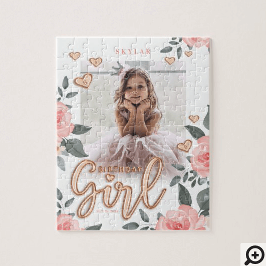 Birthday Girl Rose Gold Balloon Letters & Floral Jigsaw Puzzle