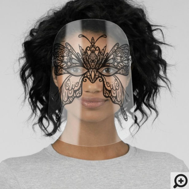 Black Lace Monarch Butterfly Elegant Masquerade Face Shield